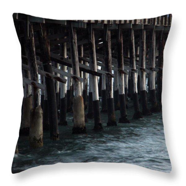 Newport Beach Pier Close Up Throw Pillow by Mariola Bitner