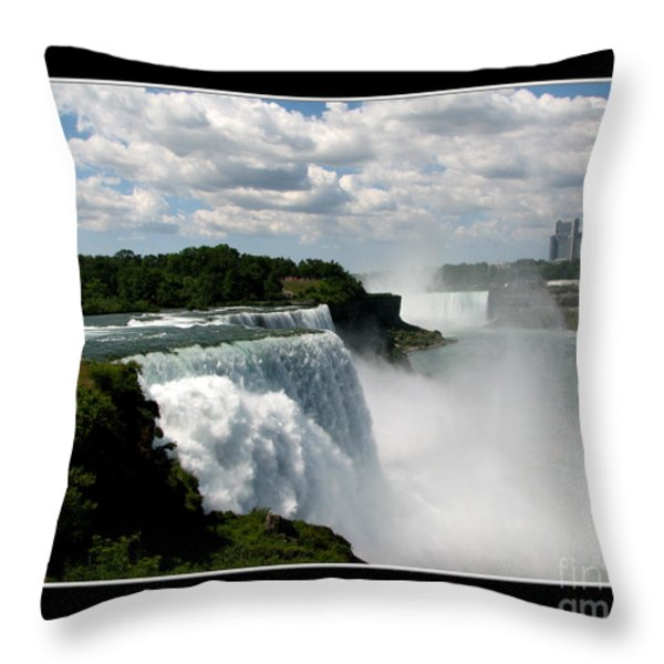 Niagara Falls American And Canadian Horseshoe Falls Throw Pillow by Rose Santuci-Sofranko