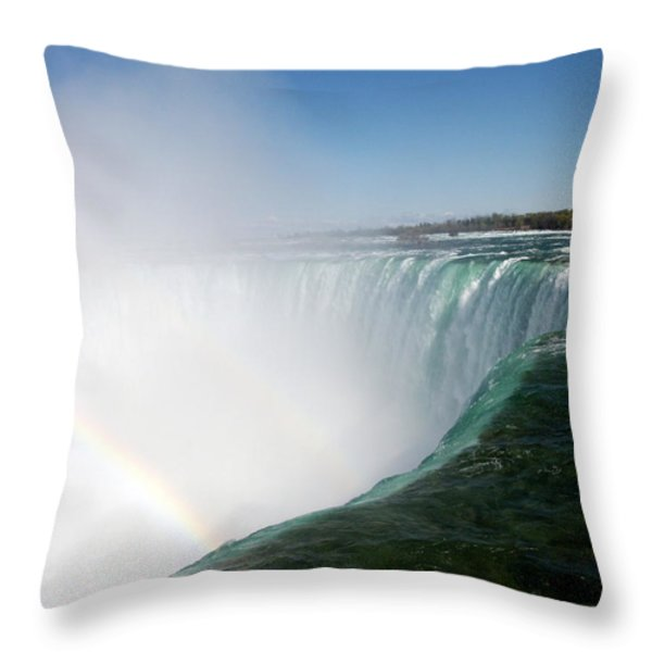 Niagara Falls Rainbow Please Do Not Jump For Gold   Throw Pillow by Danielle  Parent