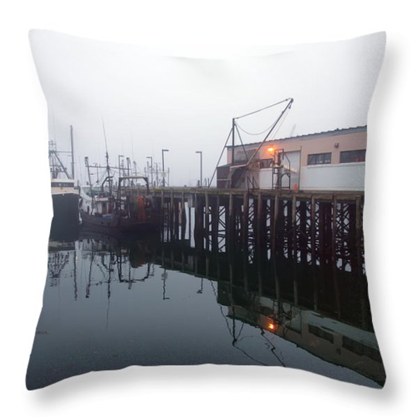 Night Fog Along the Dock Throw Pillow by Bob Orsillo