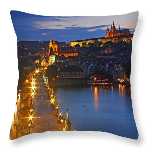 Night Lights Of Charles Bridge Or Throw Pillow by Trish Punch