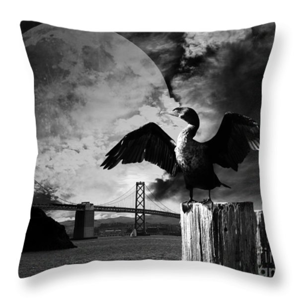 Night Of The Cormorant . Black And White Throw Pillow by Wingsdomain Art and Photography