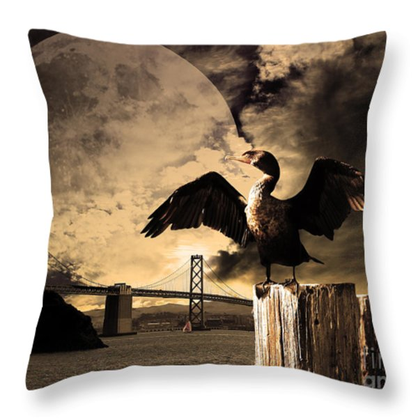 Night Of The Cormorant Throw Pillow by Wingsdomain Art and Photography