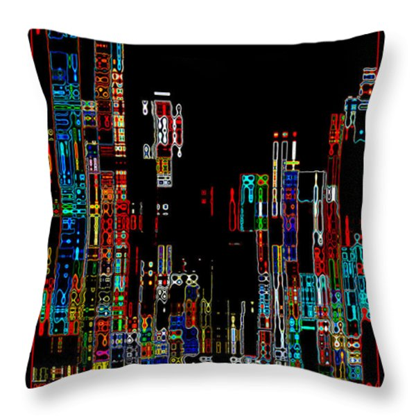 Night on the Town - Digital Art Throw Pillow by Carol Groenen