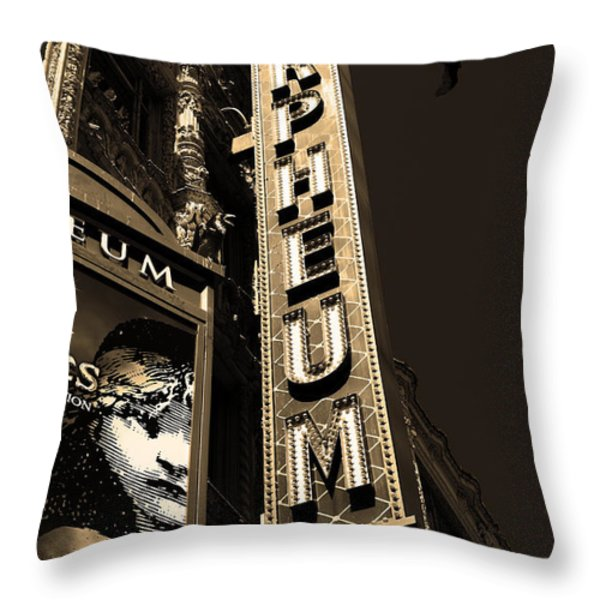Nightfall at The Orpheum - San Francisco California - 5D17991 - Sepia Throw Pillow by Wingsdomain Art and Photography