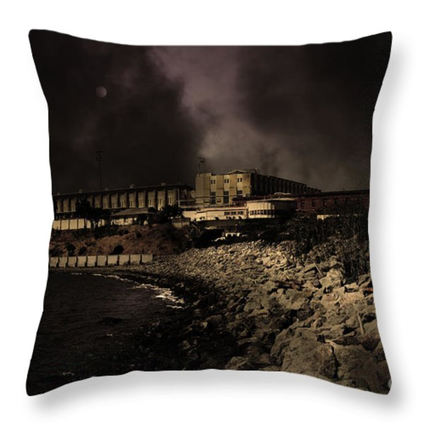 Nightfall Over Hard Time - San Quentin California State Prison - 5D18454 - Partial Sepia Throw Pillow by Wingsdomain Art and Photography