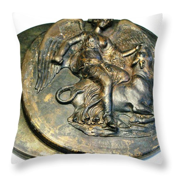 Nike slaying bull Throw Pillow by Andonis Katanos