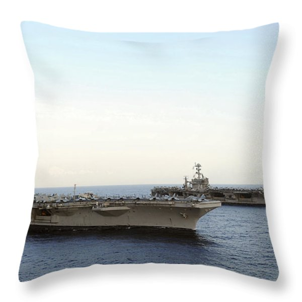 Nimitz-class Aircraft Carriers Transit Throw Pillow by Stocktrek Images