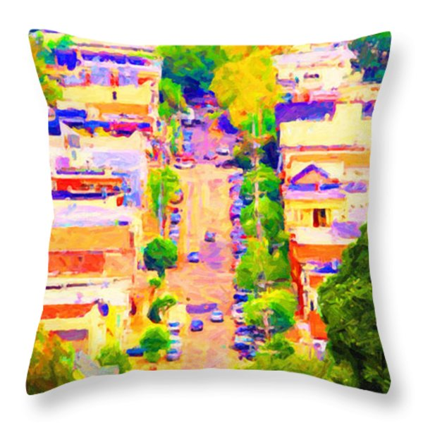 Noe Street In San Francsico 2 . Long Cut Throw Pillow by Wingsdomain Art and Photography