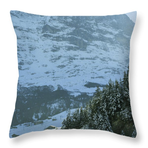 North Face Of The Eiger Towers Throw Pillow by Gordon Wiltsie