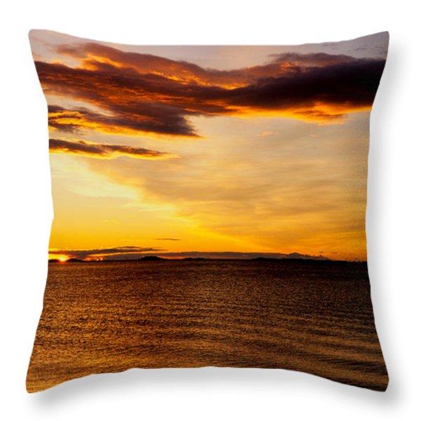 Northern Sunset Throw Pillow by Hakon Soreide