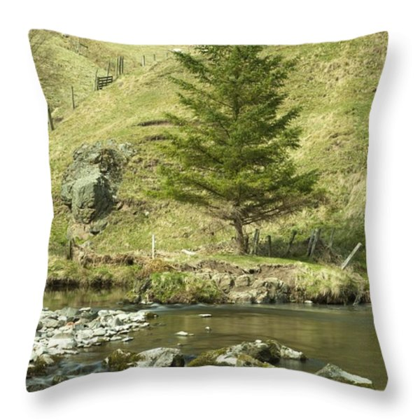 Northumberland, England A River Flowing Throw Pillow by John Short