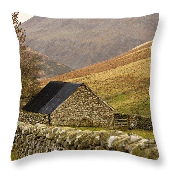 Northumberland, England Stone House Throw Pillow by John Short