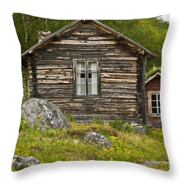 Norwegian Timber House Throw Pillow by Heiko Koehrer-Wagner