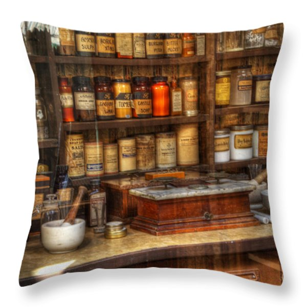 Nostalgia Pharmacy 2 Throw Pillow by Bob Christopher