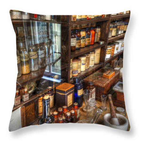 Nostalgia  Pharmacy Throw Pillow by Bob Christopher