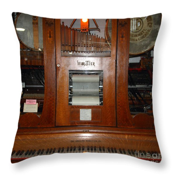 Nostalgic Wurlitzer Player Piano . 7D14400 Throw Pillow by Wingsdomain Art and Photography