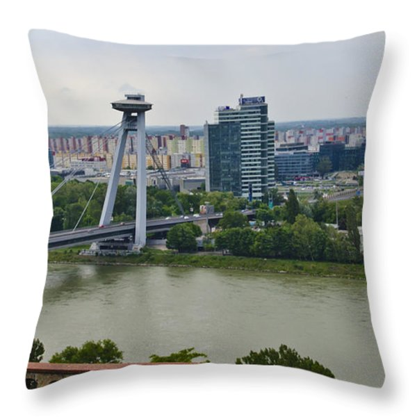 Novy Most Bridge - Bratislava Throw Pillow by Jon Berghoff