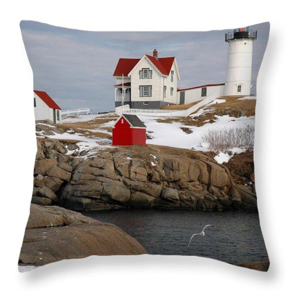 Nubble Light - Cape Neddick lighthouse seascape landscape rocky coast Maine Throw Pillow by Jon Holiday