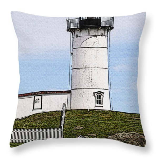 Nubble Lighthouse- Canvas Throw Pillow by Luke Moore