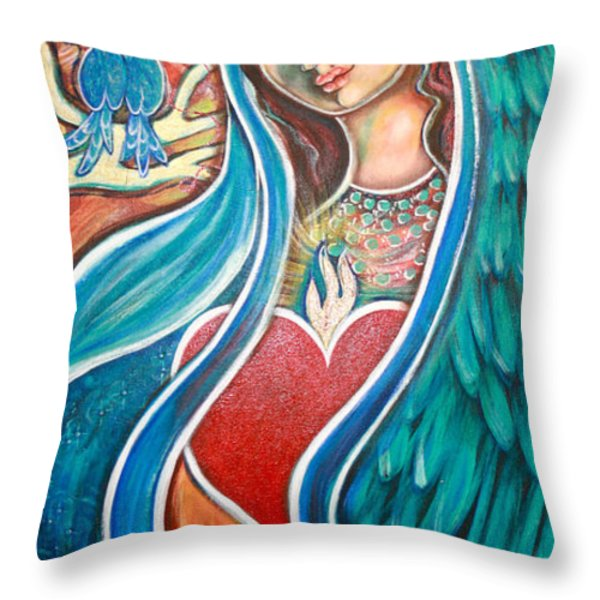 Nuestra Senora Maestosa Throw Pillow by Shiloh Sophia McCloud