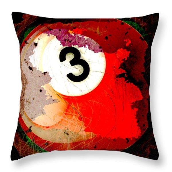 Number 3 Billiards Ball Throw Pillow by David G Paul