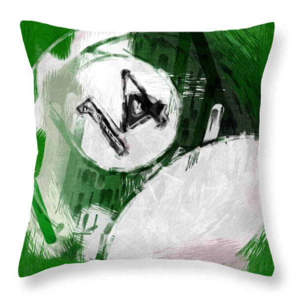 Number Fourteen Billiards Ball Abstract Throw Pillow by David G Paul