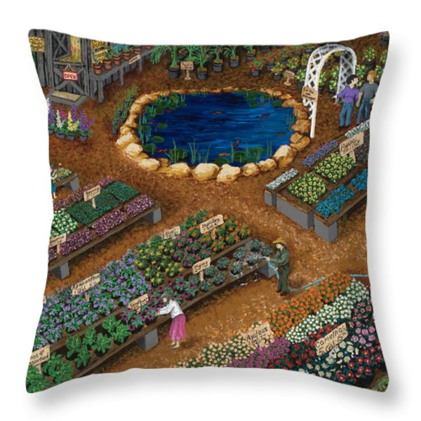 Nursery Time Throw Pillow by Katherine Young-Beck