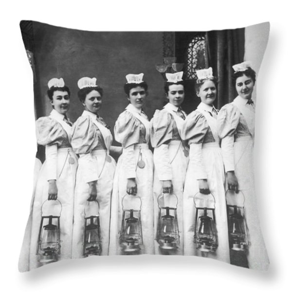 Nurses On Night Rounds 1899 Throw Pillow by Science Source