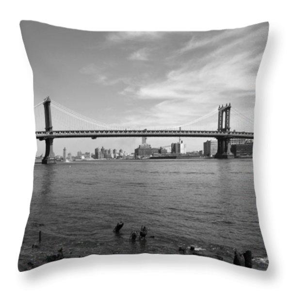 NYC Manhattan Bridge Throw Pillow by Mike McGlothlen