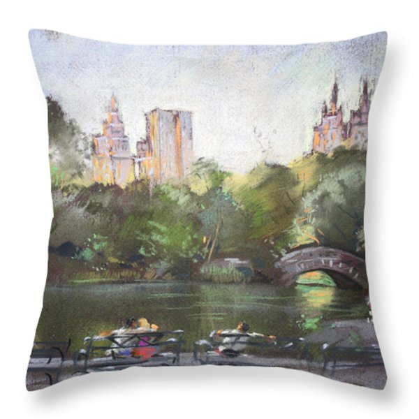 Nyc Resting In Central Park Throw Pillow by Ylli Haruni