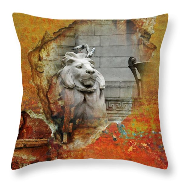 Nyc Urban Lion Throw Pillow by AdSpice Studios