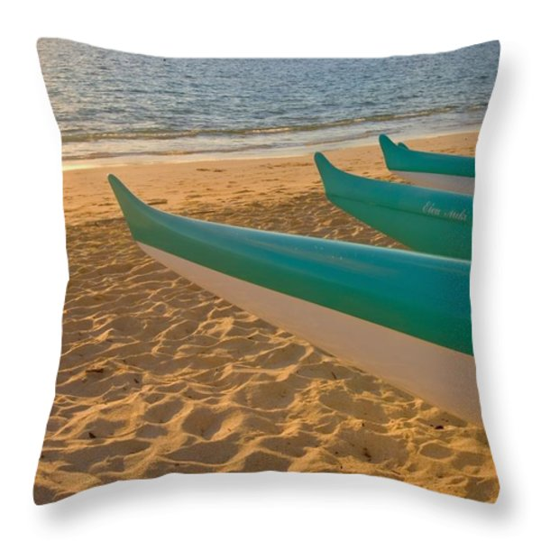 Oahu, Outrigger Canoes Throw Pillow by Tomas del Amo - Printscapes