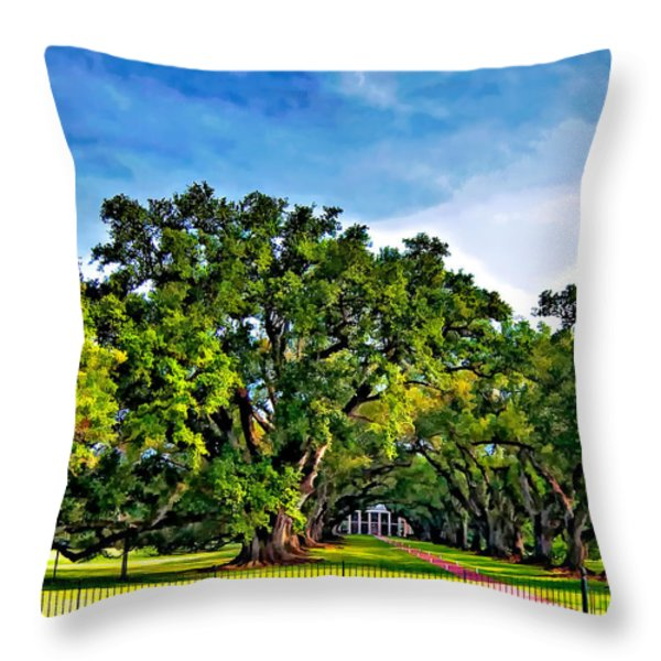 Oak Alley Plantation Throw Pillow by Steve Harrington