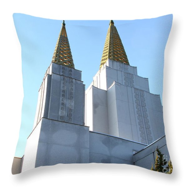 Oakland California Temple . The Church of Jesus Christ of Latter-Day Saints . 7D11360 Throw Pillow by Wingsdomain Art and Photography