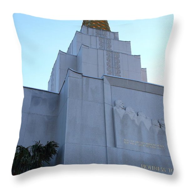 Oakland California Temple . The Church of Jesus Christ of Latter-Day Saints . 7D11364 Throw Pillow by Wingsdomain Art and Photography