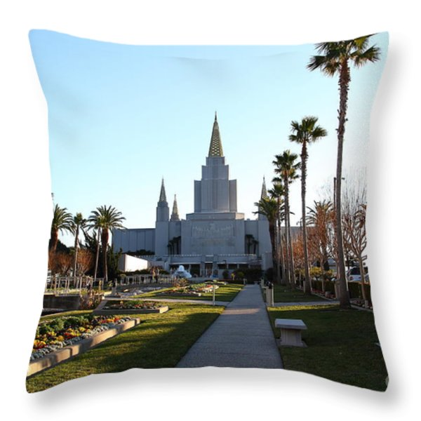 Oakland California Temple . The Church Of Jesus Christ Of Latter-day Saints . 7d11371 Throw Pillow by Wingsdomain Art and Photography