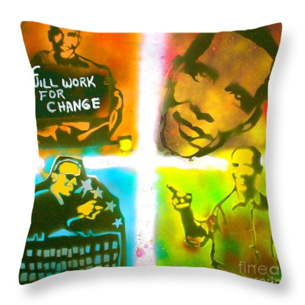 Obama Squared Throw Pillow by TONY B CONSCIOUS