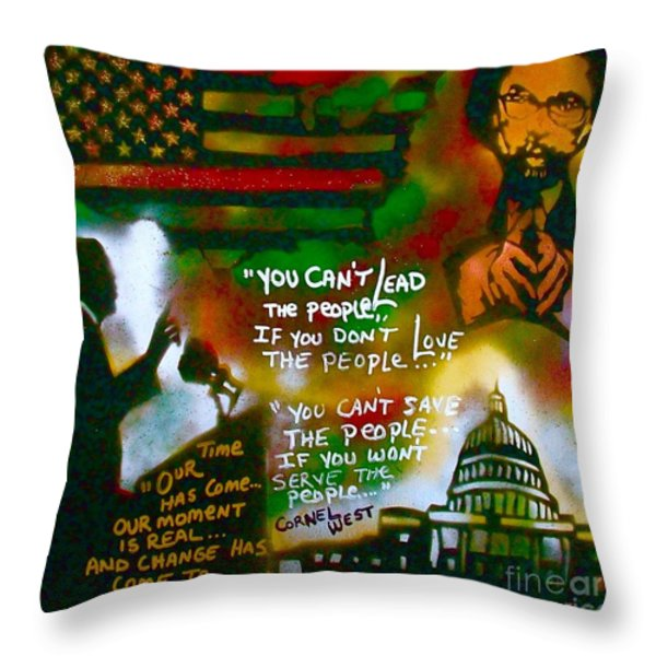 Obama vs. Cornel Throw Pillow by TONY B CONSCIOUS
