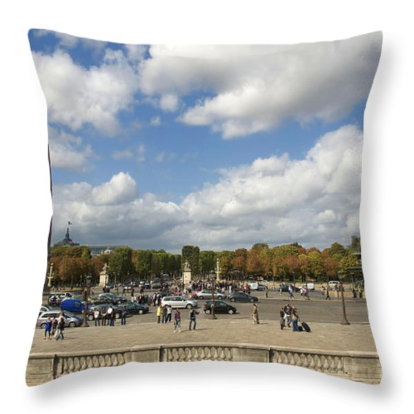 Obelisque place de la Concorde. Paris. France Throw Pillow by BERNARD JAUBERT