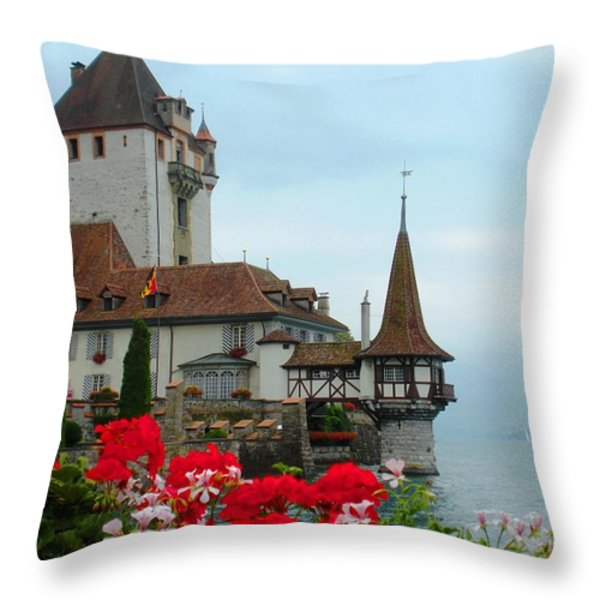 Oberhofen Castle With Flowers Throw Pillow by Marilyn Dunlap