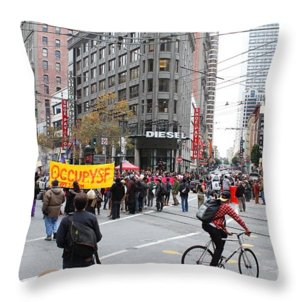 Occupy Sf . 7d9733 Throw Pillow by Wingsdomain Art and Photography
