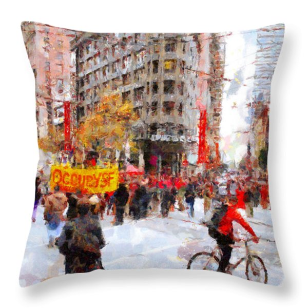 Occupy Sf Market Street . 7d9733 Throw Pillow by Wingsdomain Art and Photography