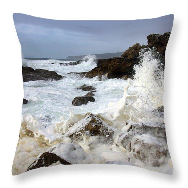 Ocean Foam Throw Pillow by Carlos Caetano