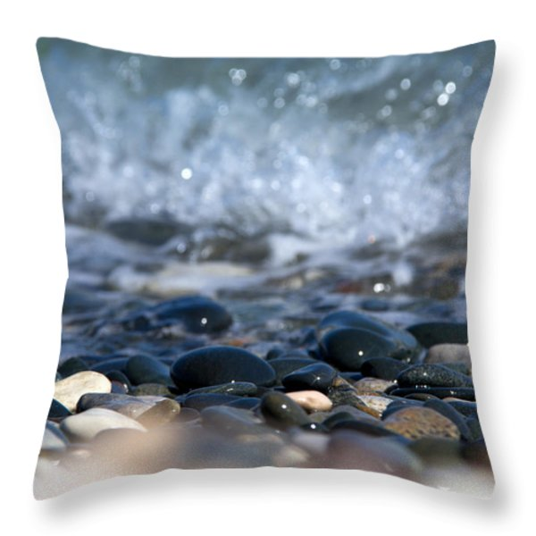 Ocean Stones Throw Pillow by Stylianos Kleanthous