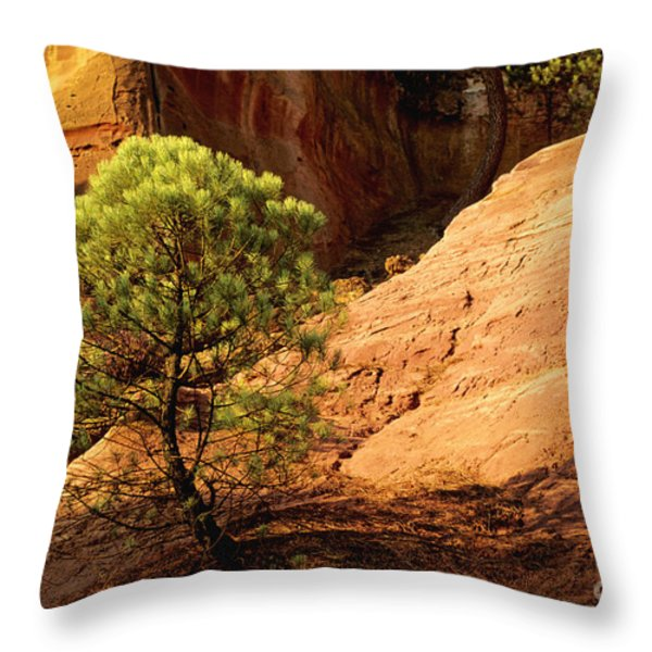 Ocher. Roussillon. Luberon Throw Pillow by Bernard Jaubert