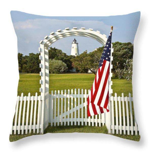 Ocracoke Lighthouse July 4th Throw Pillow by Bill Swindaman