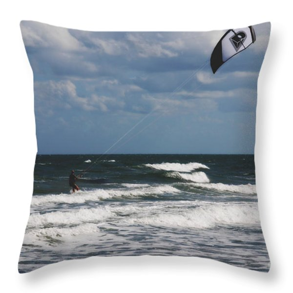 October Beach Kite Surfer Throw Pillow by Susanne Van Hulst