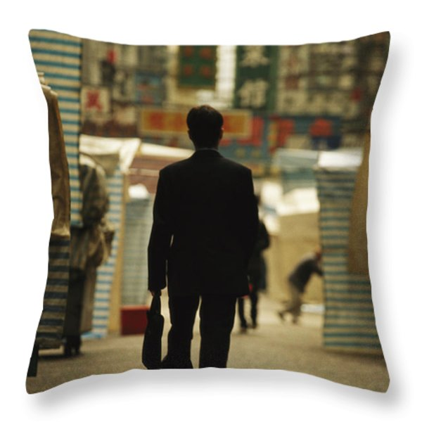 Office Worker With A Briefcase Walks Throw Pillow by Justin Guariglia