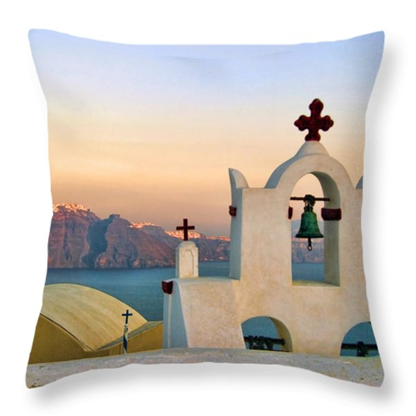 Oia In Santorini Throw Pillow by David Smith